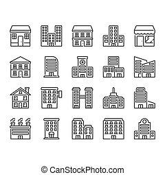 ikon, állhatatos, épület
