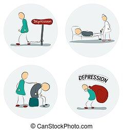 ikon, állhatatos, depresszió, ember