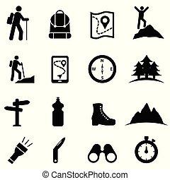 ikon, állhatatos, szabad, természetjárás, pihenés