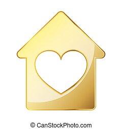 ikon, épület, alakzat., arany, szeret szív, icon., fogalom, vektor, épület