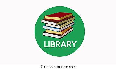 ikon, aláír, könyvtár