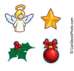 ikon, -, angyal, állhatatos, magyal, csillag, labda, karácsony