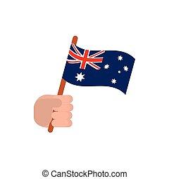 ikon, australia lobogó, háttér, kéz, fehér