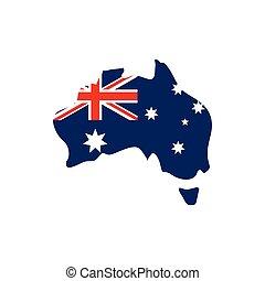 ikon, australia lobogó, háttér, térkép, fehér