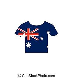 ikon, australia lobogó, háttér, trikó, embléma, fehér