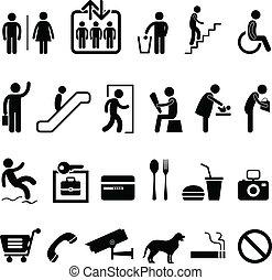 ikon, bevásárló központ, aláír, közönség