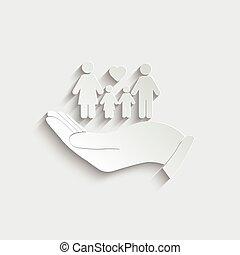 ikon, birtok, icon., kéz, család, vektor