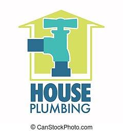 ikon, csap, épület, víz, elszigetelt, művek, csőhálózat házi, megjavítás