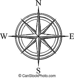 ikon, design), iránytű, vektor, (retro