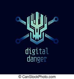 ikon, digitális, veszély