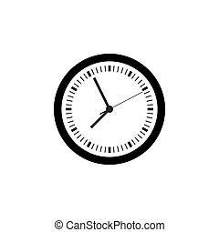 ikon, egyszerű, karóra, tervezés, jelkép