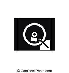 ikon, egyszerű, lemezjátszó, mód