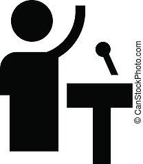 ikon, egyszerű, mód, beszélő