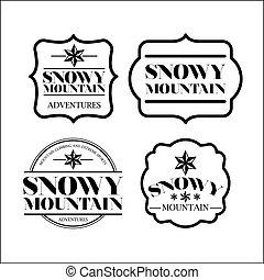 ikon, elszigetelt, állhatatos, havas, keret, hegy, tervezés