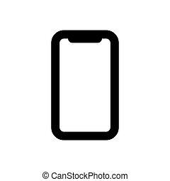 ikon, elszigetelt, fehér, áttekintés, smartphone, háttér