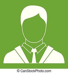 ikon, ember, zöld ügy, illeszt