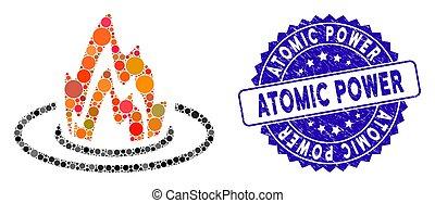 ikon, erő, atom-, mózesi, elhelyezés, elbocsát, textured, fóka
