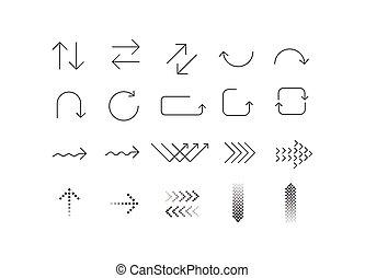 ikon, fehér, jelkép, nyíl, állhatatos, háttér.