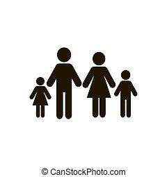 ikon, fehér, vektor, elszigetelt, család