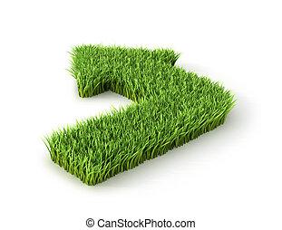 ikon, felett, ábra, háttér., ökológiai, zöld, nyíl, fehér, fű, 3