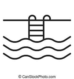 ikon, fogalom, isolated., úszás, idegenforgalom, pocsolya