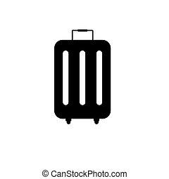 ikon, háttér, bőrönd, elszigetelt, fehér