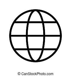 ikon, háttér, elszigetelt, fehér, földgolyó