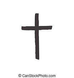 ikon, háttér., elszigetelt, vektor, jelkép, ábra, kereszt, keresztény, fehér