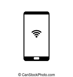 ikon, háttér, smartphone, elszigetelt, fehér
