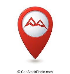 ikon, hegy, térkép, mutató