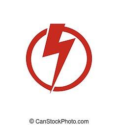 ikon, illustration., erő, veszély, fény, fellobbant, vektor, feszültség, dörgés, jel, design., piros, elektromos