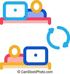 ikon, internet összeköttetés, ábra, áttekintés, vektor, munkavállaló