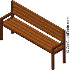 ikon, isometric, erdő, mód, bírói szék