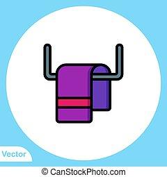 ikon, jelkép, lakás, törülköző, vektor, aláír