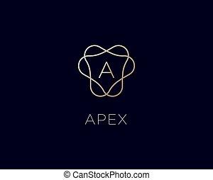 ikon, jutalom, logo., levél, lineáris, abc, logotype., jelkép., monogram, címer, finom, keret, gradiens, vektor, bélyeg, fényűzés