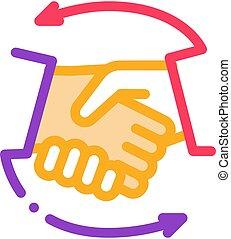 ikon, kézfogás, áttekintés, ábra, vektor