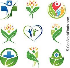 ikon, különféle, állhatatos, jelkép, tervezés elem, színes, orvosi, változat