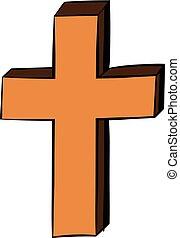 ikon, keresztény, karikatúra, kereszt