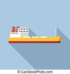ikon, lakás, hajó, ipari, mód