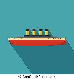 ikon, lakás, hajó, mód, retro
