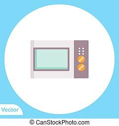 ikon, lakás, mikrohullám, vektor, jelkép, aláír