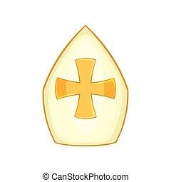 ikon, mód, kalap, karikatúra, pápa
