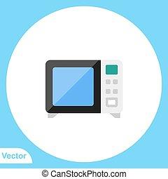 ikon, mikrohullám, jelkép, lakás, vektor, aláír