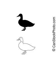 ikon, modern, lineáris, rajz, vagy, csomagolás, háttér., fehér, tervezés, jel, elszigetelt, duck., árnykép, vektor