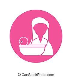 ikon, nő, árnykép, csecsemő, fürdőkád, mód, bevétel