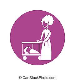 ikon, nő, árnykép, csecsemő, mód, kempingágy