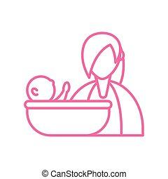 ikon, nő, csecsemő, fürdőkád, mód, egyenes, bevétel