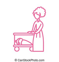 ikon, nő, csecsemő, mód, egyenes, kempingágy