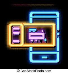 ikon, neon, kiképez, elektronikus, parázslás, cédula, ábra
