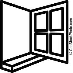 ikon, nyit ablak, áttekintés, mód, épület